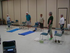 Standing or seated poses for Chair yoga
